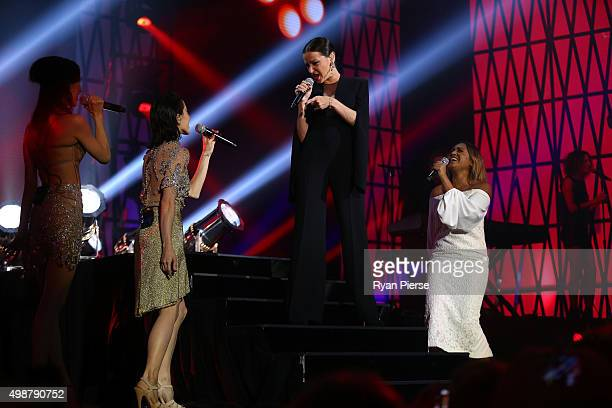 The Veronicas Tina Arena and Jessica Mauboy perform during the 29th Annual ARIA Awards 2015 at The Star on November 26 2015 in Sydney Australia