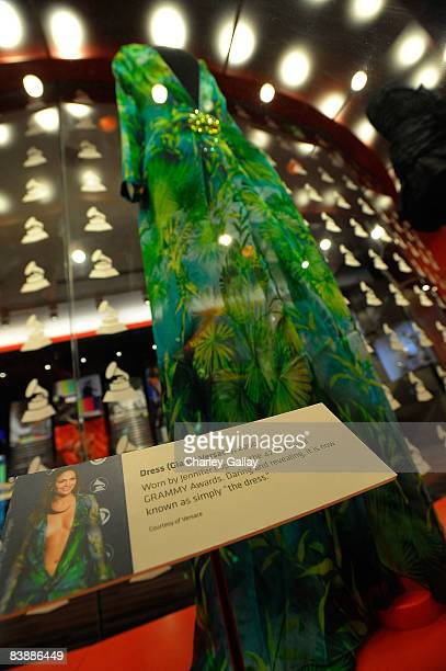 The Versace dress worn by actress Jennifer Lopez at the 42nd GRAMMY Awards is seen at the GRAMMY Museum preview day at the GRAMMY Museum at Nokia...