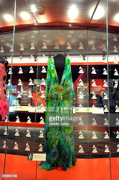 The Versace gown worn by actress Jennifer Lopez at the 42nd GRAMMY Awards is seen at the GRAMMY Museum preview day at the GRAMMY Museum at Nokia...