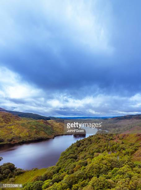 the vertical panoramic aerial view from a drone of a scottish loch in dumfries and galloway on an overcast day - johnfscott stock pictures, royalty-free photos & images
