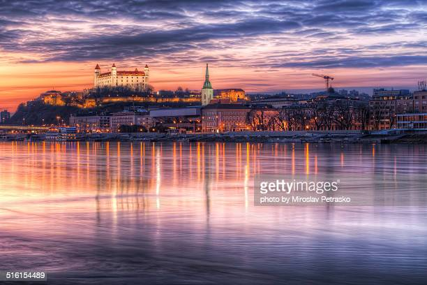the very colorful sunset in bratislava - bratislava stock pictures, royalty-free photos & images