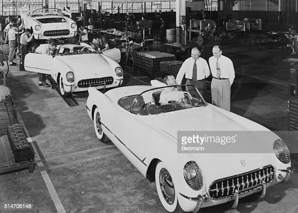The very first Corvettes roll off the assembly line at the Chevrolet plant in Flint Michigan The Corvette was the first consumer automobile with an...