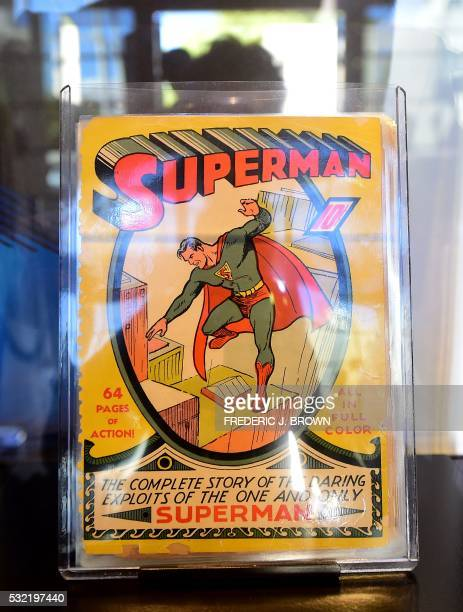 The very first Superman comic book from 1939 is displayed during Batman's cemetary visit is displayed during a press preview of 'DC Universe The...