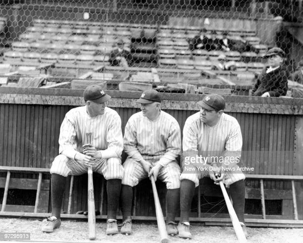 The very first world championship New York Yankees' outfielders Bob Meusel Whitey Witt and Babe Ruth