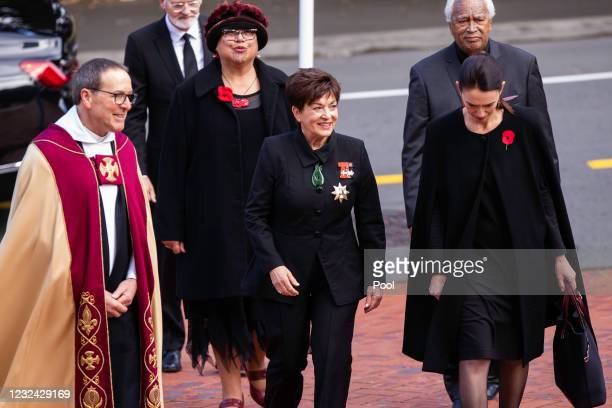 The Very Reverend David Rowe [Dean], Dame Patsy Reddy, and New Zealand Prime Minister Jacinda Ardern attend the State Memorial service for Duke Of...