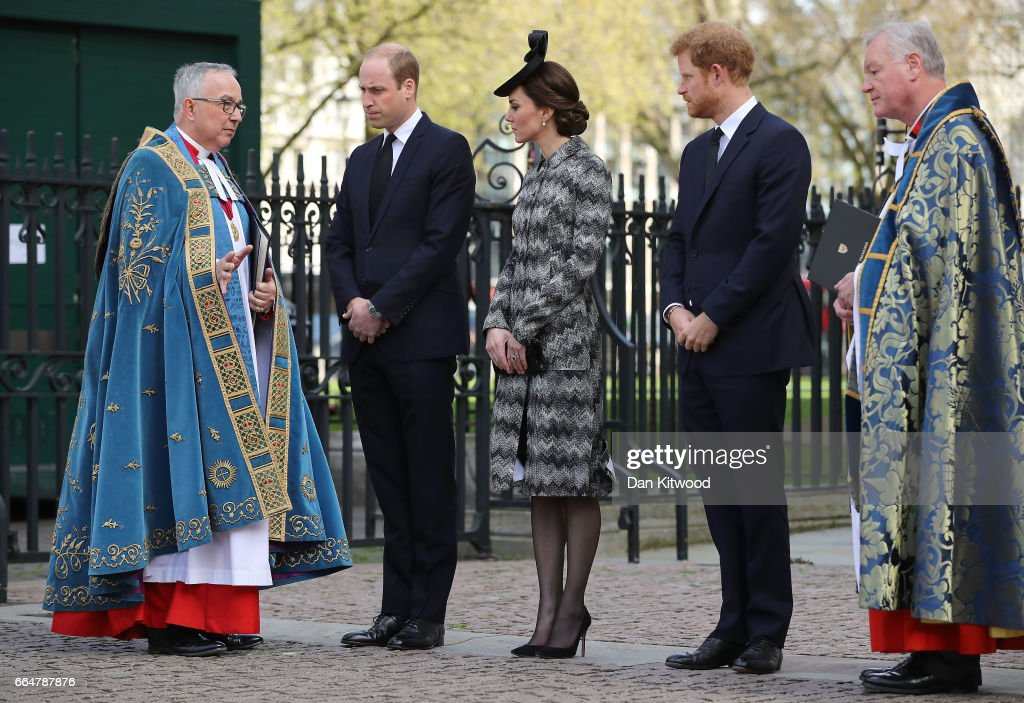 The Very Reverend Dr John Hall, Dean of Westminster receives Prince William, Duke of Cambridge, Catherine, Duchess of Cambridge and Prince Harry as they arrive for the Service of Hope at Westminster Abbey on April 5,2017 in London, United Kingdom. The multi-faith Service of Hope was held for the four people killed when Khalid Masood committed an act of terror in Westminster on Wednesday March 22. Survivors, bereaved families and members of the emergency services joined The Duke and Duchess of Cambridge, Prince Harry, the Home Secretary, Amber Rudd and London Mayor, Sadiq Khan, in the congregation.