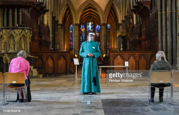 The Very Reverend Nicholas Papadopulos Dean of Salisbury welcomes visitors to the Cathedral on June 15 2020 in Salisbury United Kingdom The British...