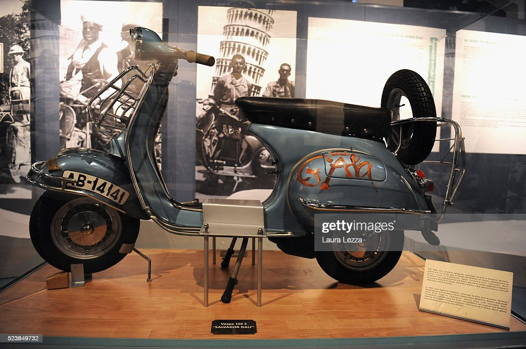 The Vespa 150s 'Salvator Dali' is displayed during the exhibition for the celebration of 70 years of the Vespa scooter in the Piaggio museum on April 24, 2016 in Pontedera, Italy. Vespa was born on April 23, 1946 following the end of World War II and is considered the world's best-selling scooter and one of the brands of Italian excellence