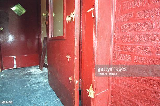 The vestibule where Amadou Diallo was shot and killed by New York City police officers shows evidence of bullet damage February 4 1999 in The Bronx...