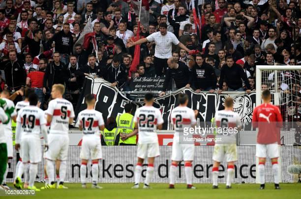 The VfB Stuttgart fans react after the Bundesliga match between VfB Stuttgart and Borussia Dortmund at MercedesBenz Arena on October 20 2018 in...