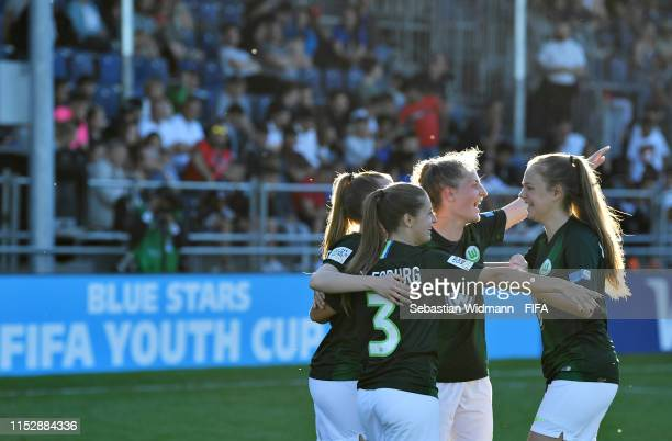 The VFL Wolfsburg team celebrate after winning the Womens final match between BSC Young Boys Bern and VFL Wolfsburg during day two of the Blue Stars...