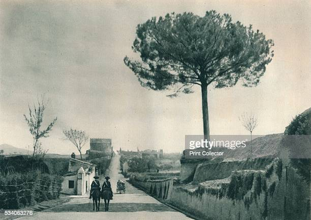 The Via Appia Rome Italy' from 'Italien in Bildern' by Eugen Poppel 1927 The tomb of Cecilia Metella is in the background The Via Appia was a road...