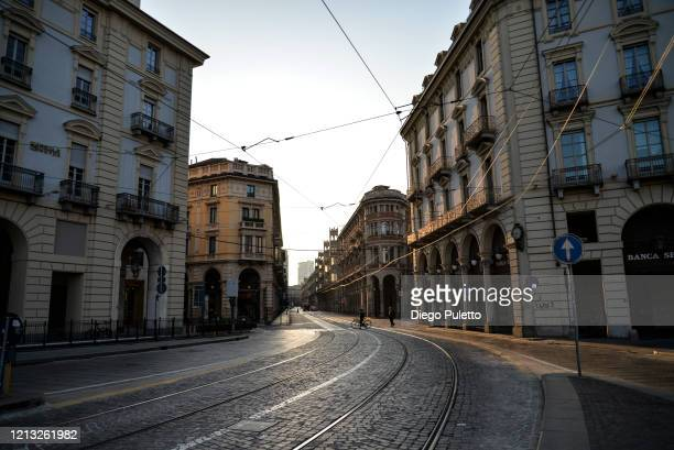 The Via Pietro Micca looks deserted during the nationwide lockdown to control COVID19 spread on March 17 2020 in Turin Italy The Italian government...