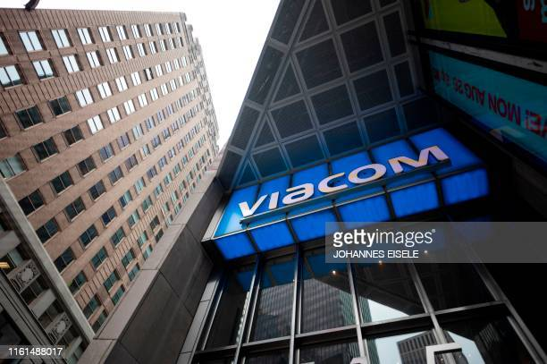 The Viacom logo is seen outside company headquarters in New York City August 13, 2019. - CBS and Viacom announced on August 13, 2019 they have...