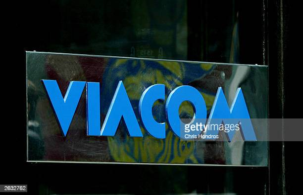 The Viacom logo is seen outside company headquarters June 2 2003 in New York City Viacom Inc announced October 23 2003 that it had exceeded its third...