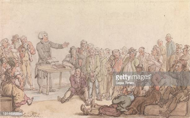 The Vicar of Wakefield: The Vicar Preaching to the Prisoners, Thomas Rowlandson, 1756–1827, British, ca. 1817, Watercolor with pen and ink on medium,...