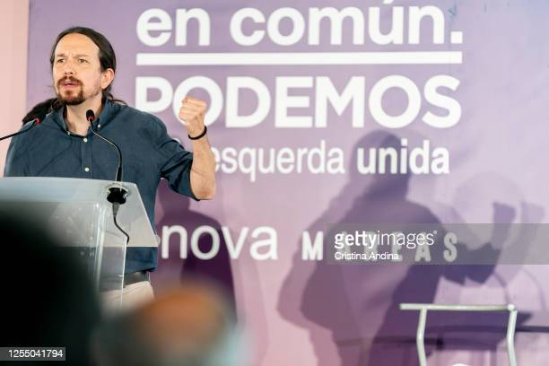 The Vice President and Minister of Social Rights and Agenda 2030 Pablo Iglesias during a rally for the Galician elections on July 08 2020 in A Coruna...