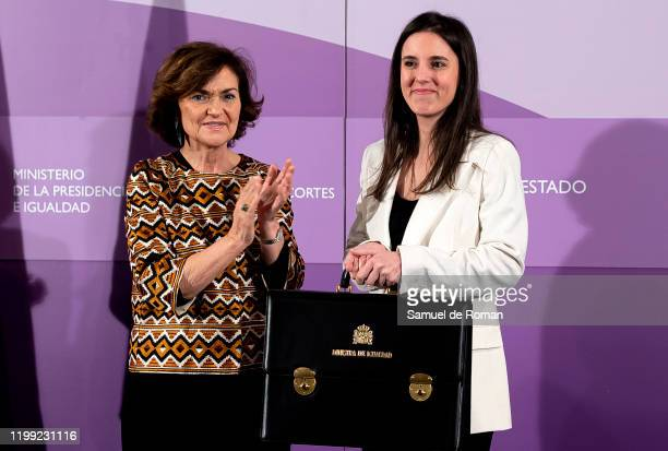 The vice president first Carmen Calvo during her speech at the takeover of the new ministers of the coalition PSOEUnidas Podemos Government at the...