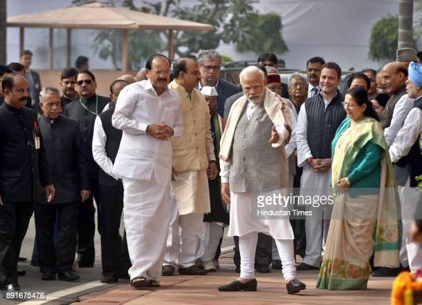 The Vice President of India Vankaiyah Naidu Prime Minister Narendra Modi Sumitra Mahajan and Rahul Gandhi during the anniversary of 2001 Parliament...
