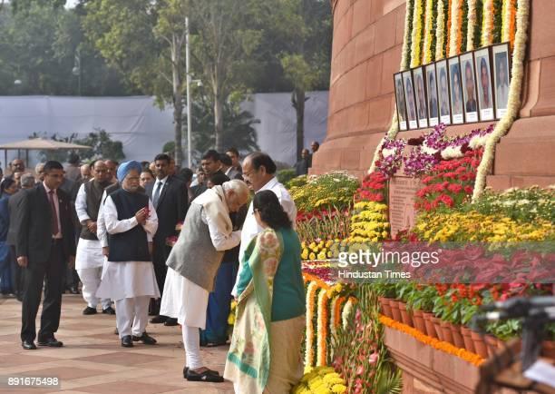 The Vice President of India Venkaiah Naidu Prime Minister Narendra Modi Sumitra Mahajan and Dr Manmohan Singh during the anniversary of 2001...