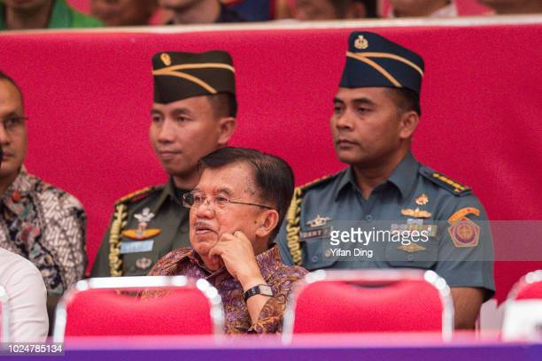 The Vice President of Indonesia Jusuf Kalla watches Women's Table Tennis Team Final between DPR Korea and China on day ten of the Asian Games on...