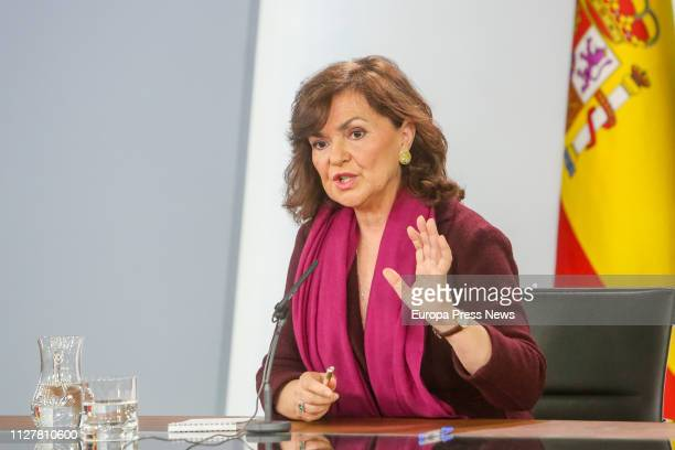 The vice president of the Government Carmen Calvo appears in Moncloa Palace to explain the role of the middleman between the Catalan Parties and the...