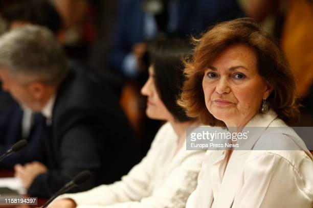 The vice president of the Government Carmen Calvo attenda a meeting of the Observatory Against GenderRelated Violence on June 25 2019 in Madrid Spain