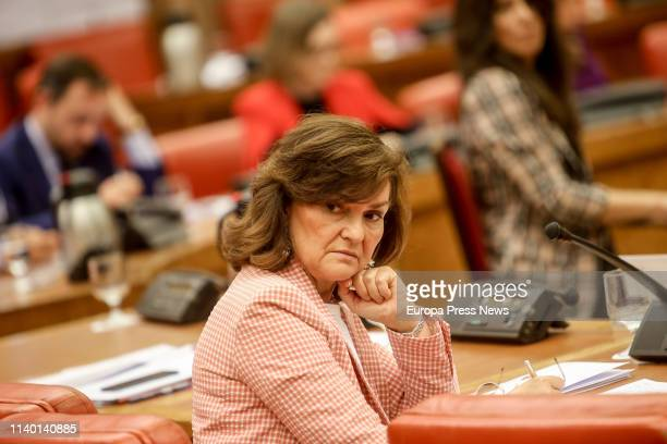 The vice president of the Government Carmen Calvo attends the meeting of the Permanent Deputation at the Parliament on April 03 2019 in Madrid Spain
