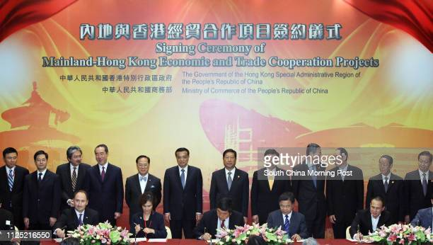 The Vice-Premier of the State Council, Li Keqiang, attends the Signing Ceremony of Mainland Hong Kong Economic and Trade Co-operation Projects at...