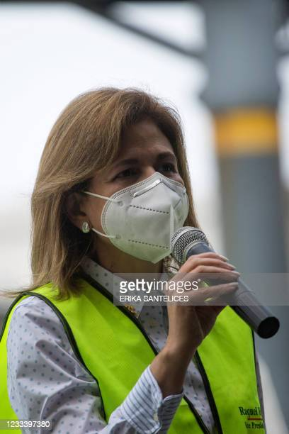 The Vice-President of Dominican Republic, Raquel Pena, speaks after the arrival of 228,150 doses of the Pfizer-BioNTech vaccine against COVID-19, at...