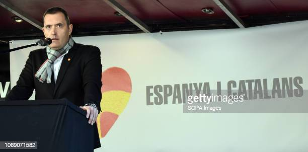 The vicepresident of the civil society 'Spain i Catalans' Javier Megino seen speaking during the event Two thousand people celebrated the 40th...