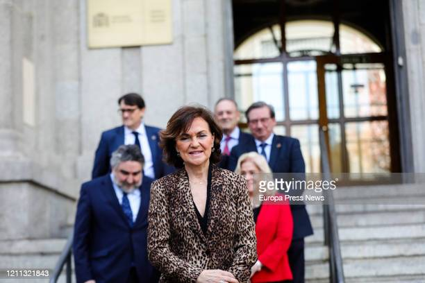 The VicePresident of the Government Carmen Calvo is seen posing to the media on her arrival to the presentation of the personal file of the jurist...