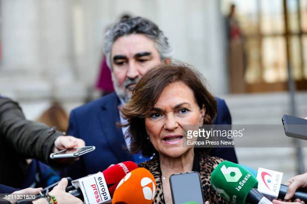 The VicePresident of the Government Carmen Calvo is seen talking with the media on her arrival to the presentation of the personal file of the jurist...