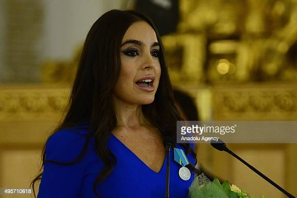 The vicepresident of the Heydar Aliyev Foundation head of the Foundations representation in Russia Leyla Aliyeva speaks after received Medal of...