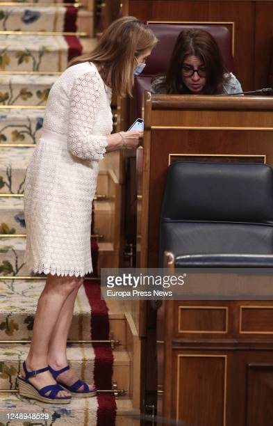 The vicepresident of the Parliament Ana Pastor and the spokeswoman of the Socialist Party Adriana Lastra are seen during a plenary session in the...