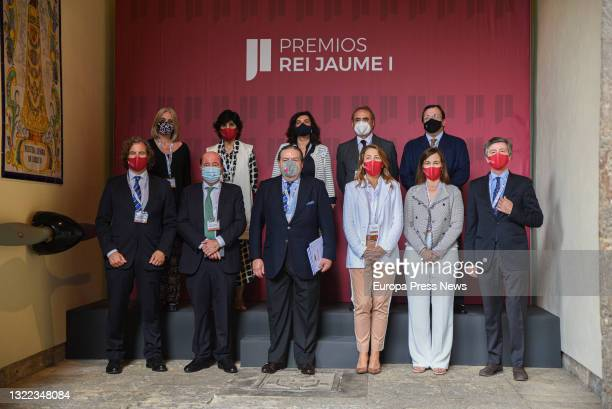 The vice-president of the Rei Jaume I Awards Foundation, Vicente Boluda together with other members of the jury, pose the day of the deliberation of...
