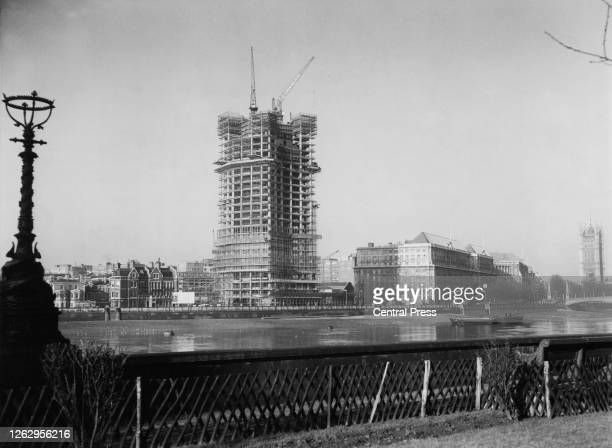 The Vickers Tower later Millbank Tower Britain's tallest office building under construction for Vickers Ltd at Millbank on the River Thames in London...