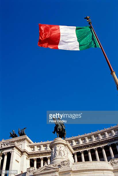 The Victor Emmanuel Monument at the Piazza Venezia and Italian flag, Rome, Italy