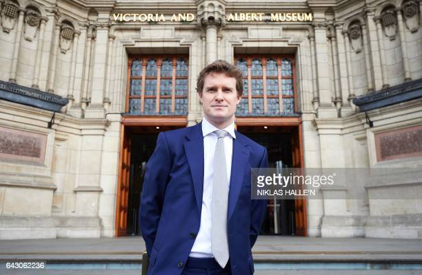The Victoria Albert Museum's newly appointer Director Tristram Hunt poses for photographers during a photocall outside the museum in London on...