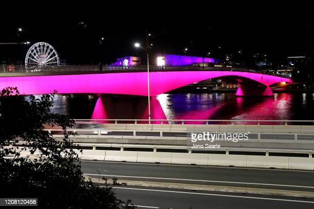 The Victoria bridge is seen lit up in pink in memory of Hannah Clarke and her children in February 23 2020 in Brisbane Australia Hannah Clarke and...