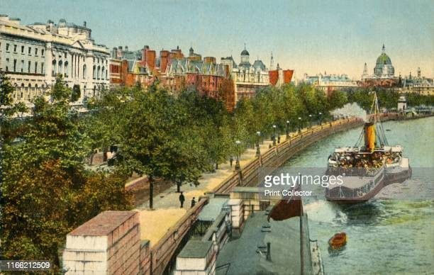The Victoria Embankment and steamship on the River Thames London circa 1910 The Embankment was designed by the civil engineer Joseph Bazalgette to...
