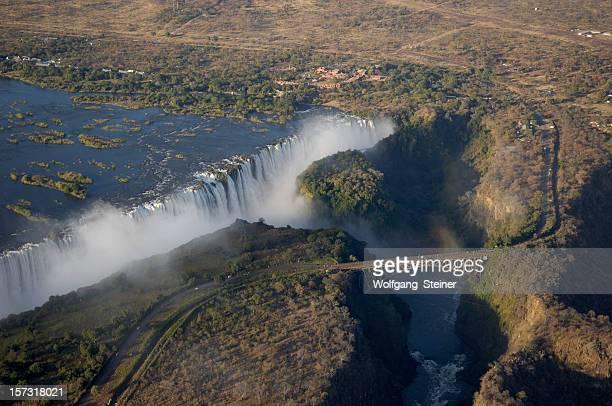 The Victoria Falls seen from an ultralight aircraft