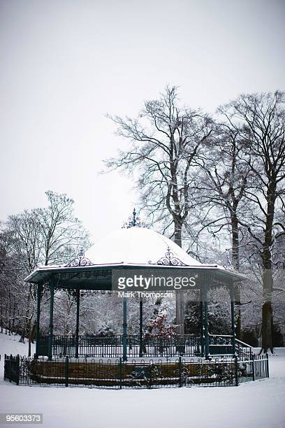 The victorian bandstand is covered in snow in Abington Park after much of Britain received another blanket of snow on January 6 2010 in Northampton...