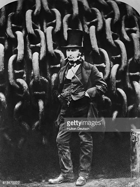 The Victorian engineer and inventor Isambard Kingdom Brunel stands in front of the chains of the Great Eastern the ship he designed with John Scott...