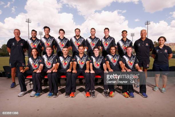 The Victorian Mens team pose for photo before the National Indigenous Cricket Championships start on February 6 2017 in Alice Springs Australia