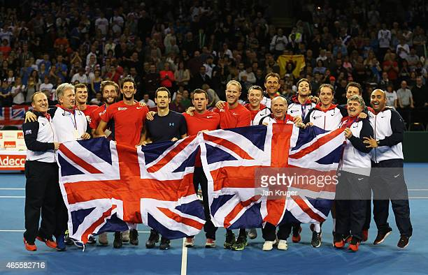 The victorious Aegon GB Davis Cup Team with players Andy Murray James Ward Jamie Murray and Dominic Inglot celebrate during day 3 of the Davis Cup...