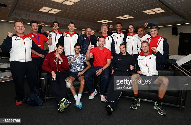 The victorious Aegon GB Davis Cup Team with players Andy Murray James Ward Jamie Murray Dominic Inglot Captain of The Aegon GB Davis Cup Team Leon...