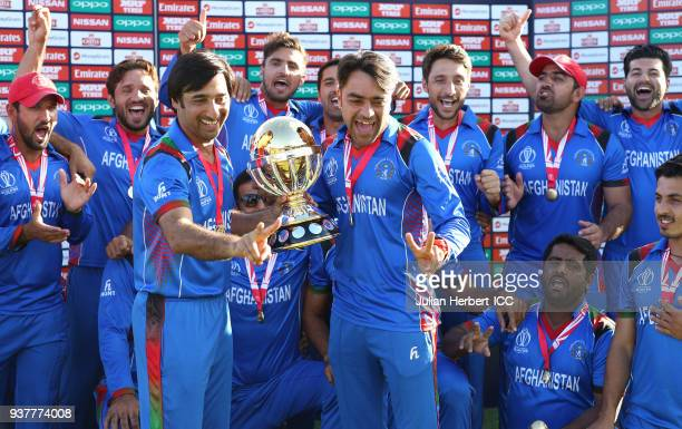 The victorious Afghanistan team after The ICC Cricket World Cup Qualifier Final between The West Indies and Afghanistan at The Harare Sports Club on...