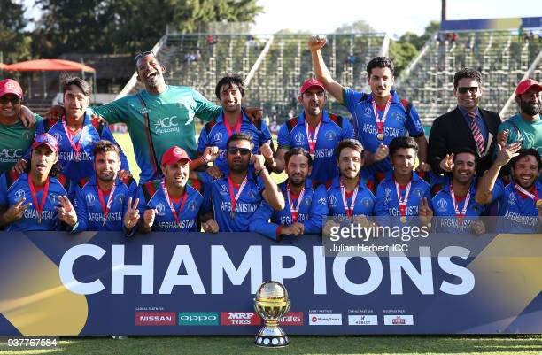 The victorious Afghanistan team after winning The ICC Cricket World Cup Qualifier Final between The West Indies and Afghanistan at The Harare Sports...