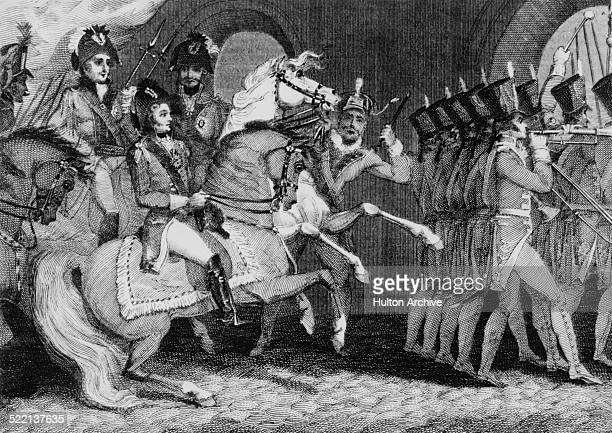 The victorious allies of the Sixth Coalition consisting of Russia Austria and Prussia enter Paris after the defeat of the Imperial French forces at...